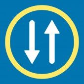 Arrows Exchange Vertical flat yellow and white colors rounded raster icon — Stock Photo