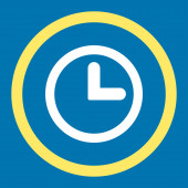 Clock flat yellow and white colors rounded raster icon — Stock Photo