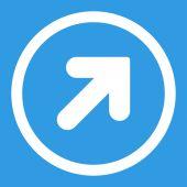 Pfeil oben rechts flach weiß Farbe gerundet-Raster-Symbol — Stockfoto