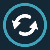 Refresh Ccw flat blue and white colors rounded raster icon — Stock Photo