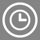 Clock flat white color rounded raster icon — Stock Photo