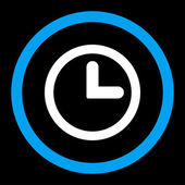 Clock flat blue and white colors rounded raster icon — Stock Photo