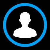 Użytkownika płaskie niebieskie i białe kolory zaokrąglone rastrowych ikona — Zdjęcie stockowe