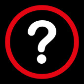 Question flat red and white colors rounded raster icon — Stock Photo