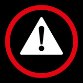 Warning flat red and white colors rounded raster icon — Stock Photo