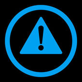 Warning flat blue color rounded raster icon — Stock Photo
