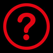 Question flat red color rounded raster icon — Stock Photo