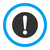 Problem flat blue and gray colors rounded raster icon — Stock Photo