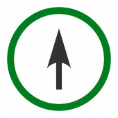 Arrow Axis Y flat green and gray colors rounded raster icon — Stock Photo