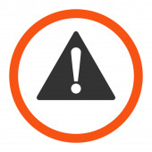 Warning flat orange and gray colors rounded raster icon — Stock Photo