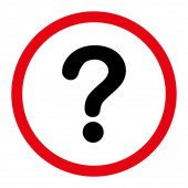 Question flat intensive red and black colors rounded raster icon — Stock Photo