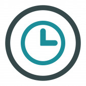 Clock flat soft blue colors rounded raster icon — Stock Photo