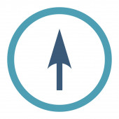 Arrow Axis Y flat cyan and blue colors rounded raster icon — Stock Photo