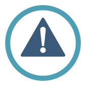 Warning flat cyan and blue colors rounded raster icon — Stock Photo