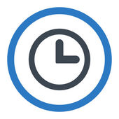 Clock flat smooth blue colors rounded raster icon — Stock Photo