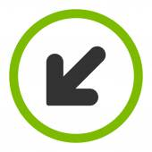 Arrow Down Left flat eco green and gray colors rounded vector icon — Cтоковый вектор