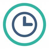 Clock flat cobalt and cyan colors rounded vector icon — Stock Vector