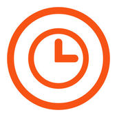 Clock flat orange color rounded vector icon — Stock Vector