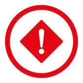 Error flat red color rounded vector icon — Stock Vector