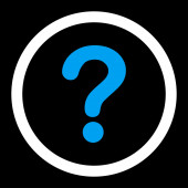 Question flat blue and white colors rounded raster icon — Stock Photo