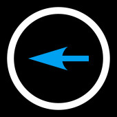 Sharp Left Arrow flat blue and white colors rounded raster icon — Stock Photo