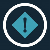 Error flat blue and white colors rounded raster icon — Stock Photo
