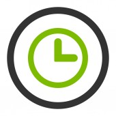 Clock flat eco green and gray colors rounded raster icon — Stock Photo