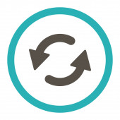Refresh Ccw flat grey and cyan colors rounded raster icon — Stock Photo
