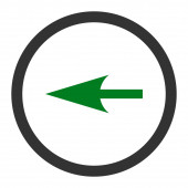 Sharp Left Arrow flat green and gray colors rounded raster icon — Stock Photo