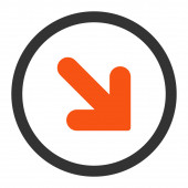 Arrow Down Right flat orange and gray colors rounded raster icon — Stock Photo