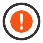 Problem flat orange and gray colors rounded raster icon — Stock Photo