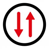 Arrows Exchange Vertical flat intensive red and black colors rounded raster icon — Stock Photo