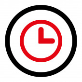 Clock flat intensive red and black colors rounded raster icon — Stock Photo