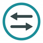 Arrows Exchange flat soft blue colors rounded raster icon — Stock Photo