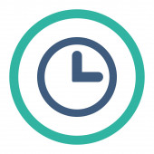 Clock flat cobalt and cyan colors rounded raster icon — Stock Photo