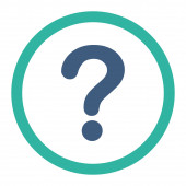 Question flat cobalt and cyan colors rounded raster icon — Stock Photo
