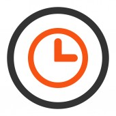 Clock flat orange and gray colors rounded vector icon — Stock Vector