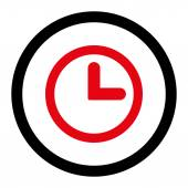 Clock flat intensive red and black colors rounded vector icon — Stock Vector