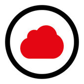 Cloud flat intensive red and black colors rounded vector icon — Stock Vector
