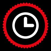 Clock flat red and white colors round stamp icon — Stock Vector