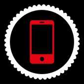 Smartphone flat red and white colors round stamp icon — Stock Photo