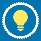 Electric Bulb flat yellow and white colors round stamp icon — Photo