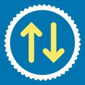 Flip flat yellow and white colors round stamp icon — Стоковое фото