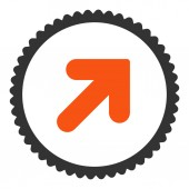 Arrow Up Right flat orange and gray colors round stamp icon — Stock Photo