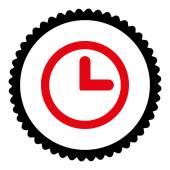 Clock flat intensive red and black colors round stamp icon — 图库照片