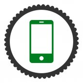 Smartphone flat green and gray colors round stamp icon — Stockvektor