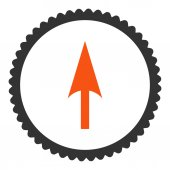 Arrow Axis Y flat orange and gray colors round stamp icon — Stock Vector