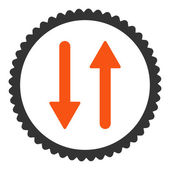 Arrows Exchange Vertical flat orange and gray colors round stamp icon — Stock Vector