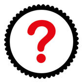 Question flat intensive red and black colors round stamp icon — Stock Vector