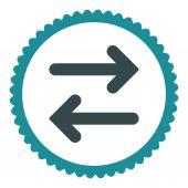 Flip Horizontal flat soft blue colors round stamp icon — 图库矢量图片